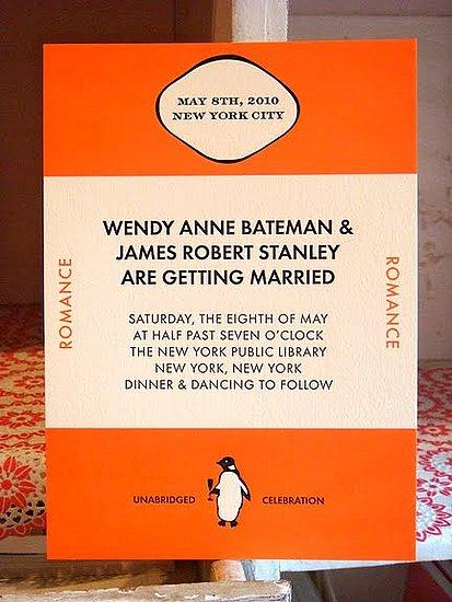 Penguin Book Cover Wedding Invitation ~ Pratham books bookish wedding inspiration