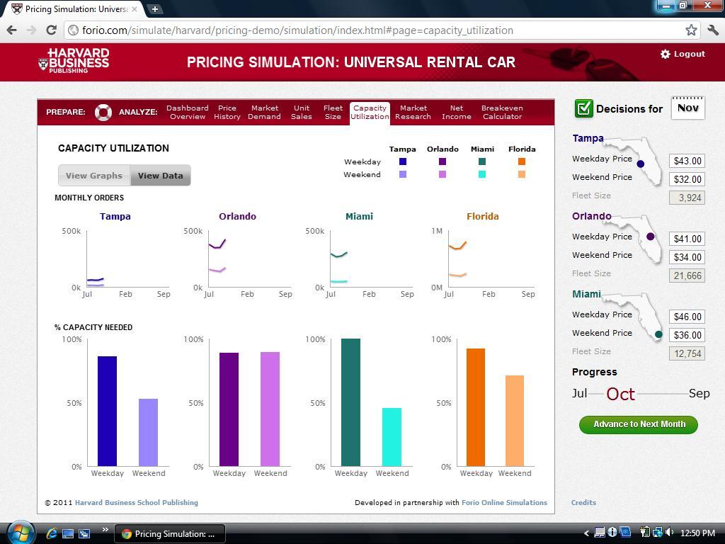 pricing universal rental car