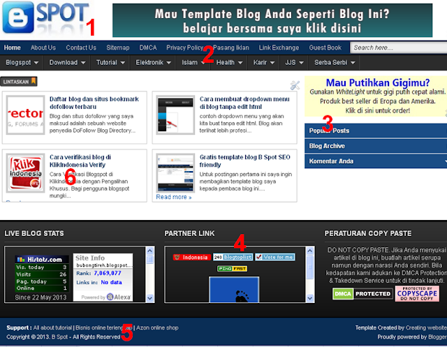 B Spot, Tutorial membuat blog dan tips seo gratis.