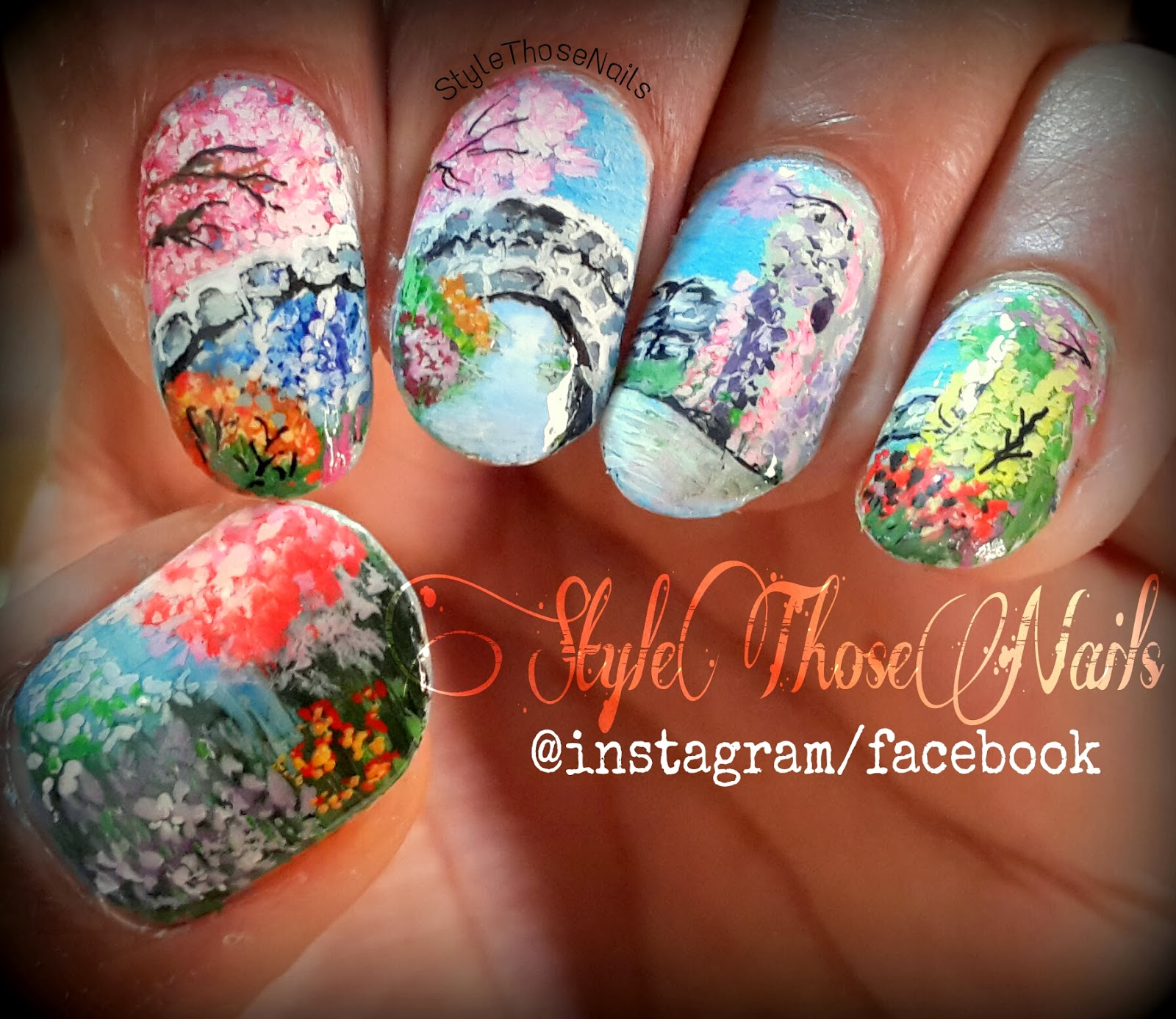 Style those nails freehand spring landscape nails according to riddhi she used 45 shades of nail polish to recreate this scenery yes she used nail polish only since i am not that talented i just prinsesfo Images