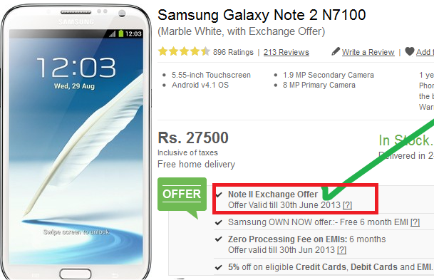 Samsung Galaxy Note II Exchange Offer by Flipkart.com