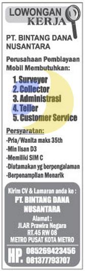 Lowongan Kerja PT. Bintang Dana Nusantara
