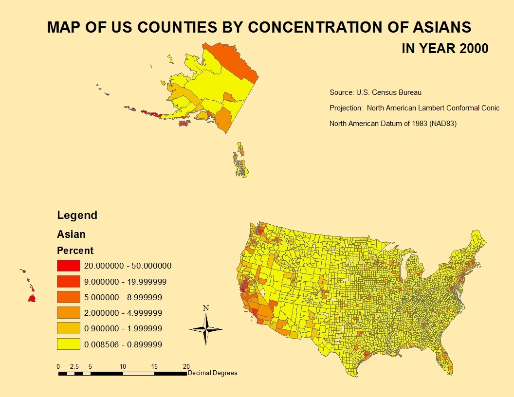 this choropleth map shows the concentration of asians by county in the united states in 2000 source census 2000 the map shows that the population of