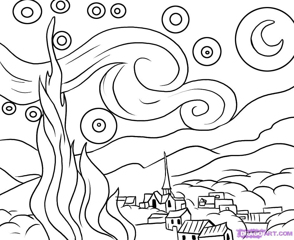 starry night coloring pages - tu aula pt van gogh