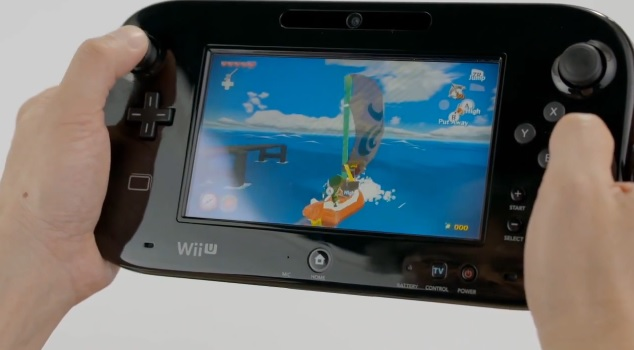 Image of The Legend of Zelda: The Wind Waker HD being played on the Wii U GamePad