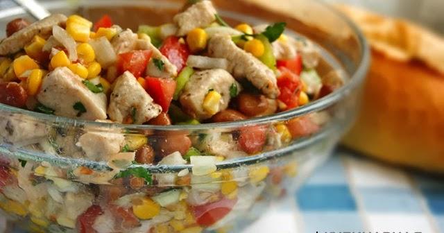 салат с фасолью курицей кукурузой рецепт