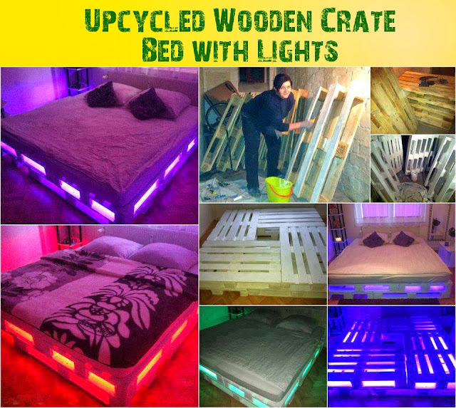 Wooden Crate Bed with Lights