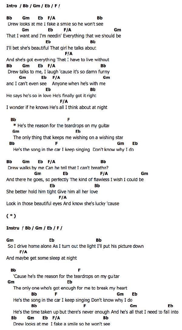 Teardrops On My Guitar Taylor Swift Chordza