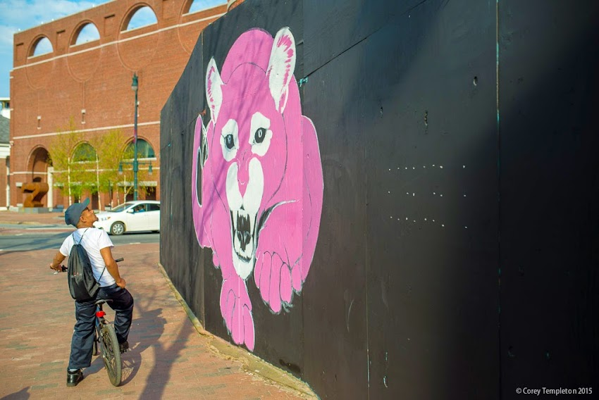 Portland, Maine May 2015 Congress Square art on construction wall photo by Corey Templeton.
