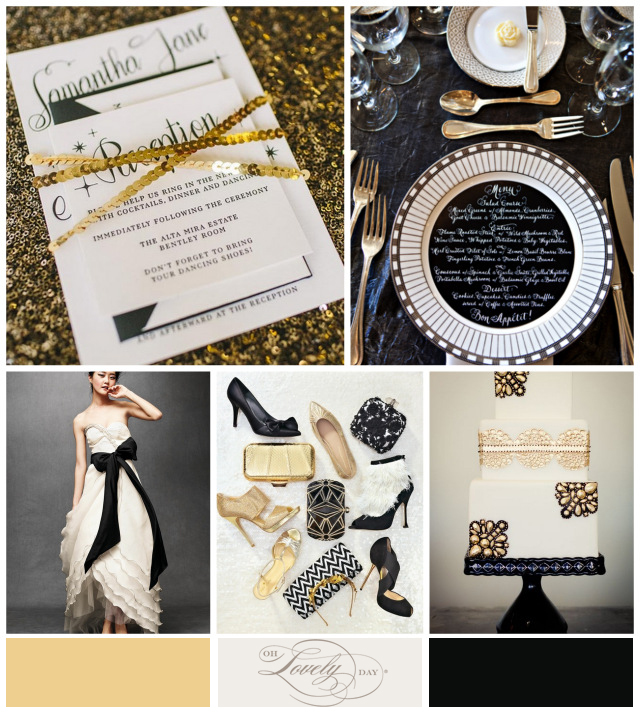 black and gold glam wedding inspiration from oh lovely day