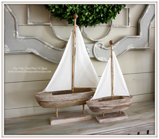 Simple Nautical Fireplace Mantel Display-Sailboats-World Market- From My Front Porch To Yours