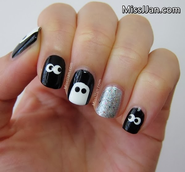 Missjjans beauty blog spooky eyes nail art short nails spooky eyes nail art short nails halloween cute easy prinsesfo Gallery