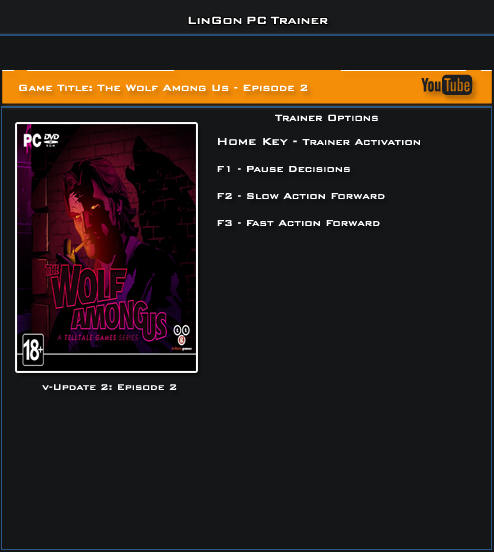 The Wolf Among Us Episode 2 v1.0 Update 2 Trainer +3 [LinGon]