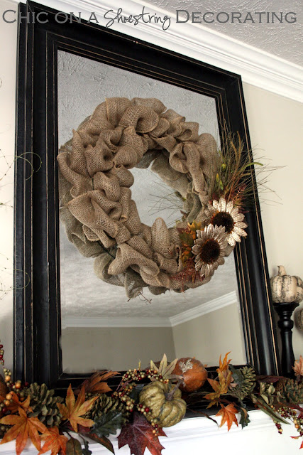 easy handmade burlap wreath fall mantle Chic on a Shoestring Decorating