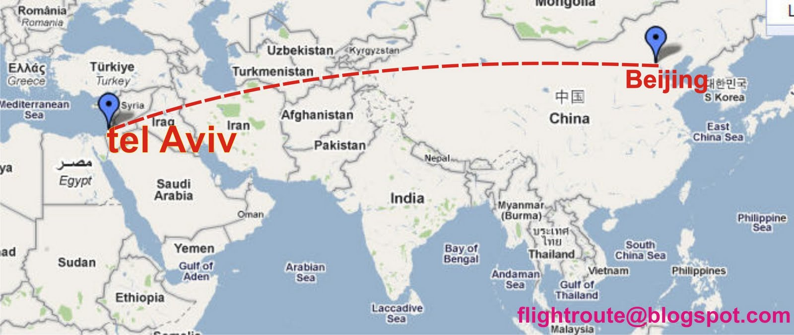 air china from beijing to israel map of air china route