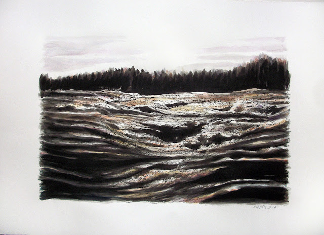 Patrick Willett, Currents, ind drawing, watercolor, Niagara Rapids, Niagara Falls, Niagara river