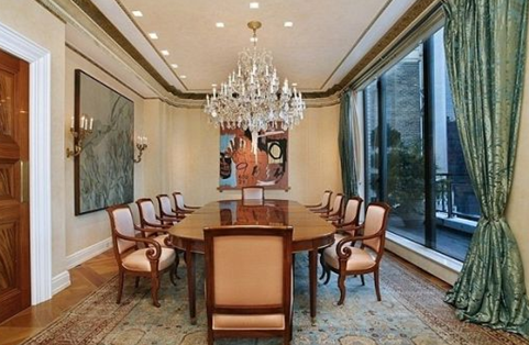 david geffens dining room in new york city duplex penthouse with crystal chandelier