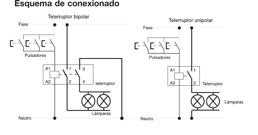 esquema de conexionado de telerruptor