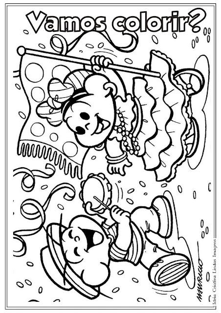 Desenho de Carnaval com Turma da Mônica para colorir
