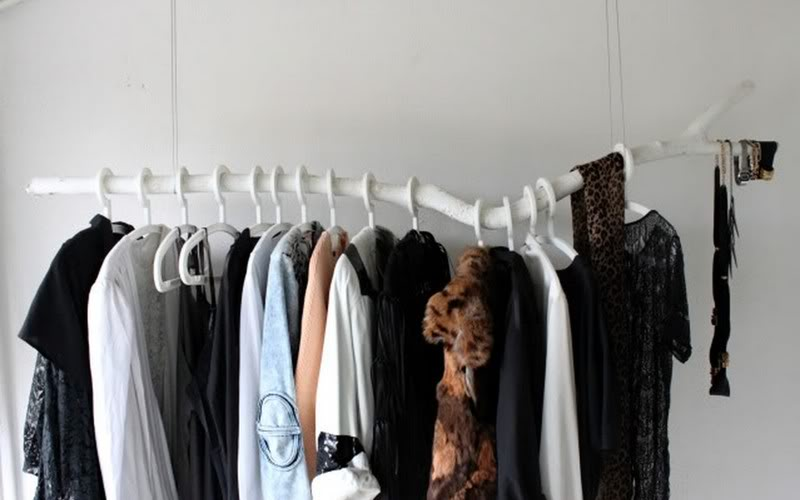 diy clothing rack in the ceiling