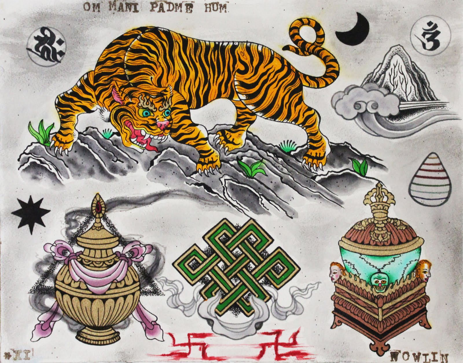 elite laurel tattoos tibetan tiger flash. Black Bedroom Furniture Sets. Home Design Ideas