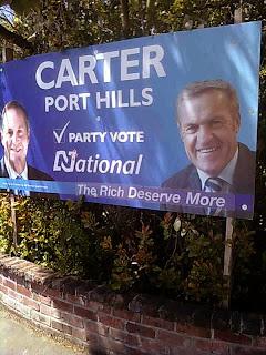 Carter, Port Hills: Party Vote National (The Rich Deserve More)