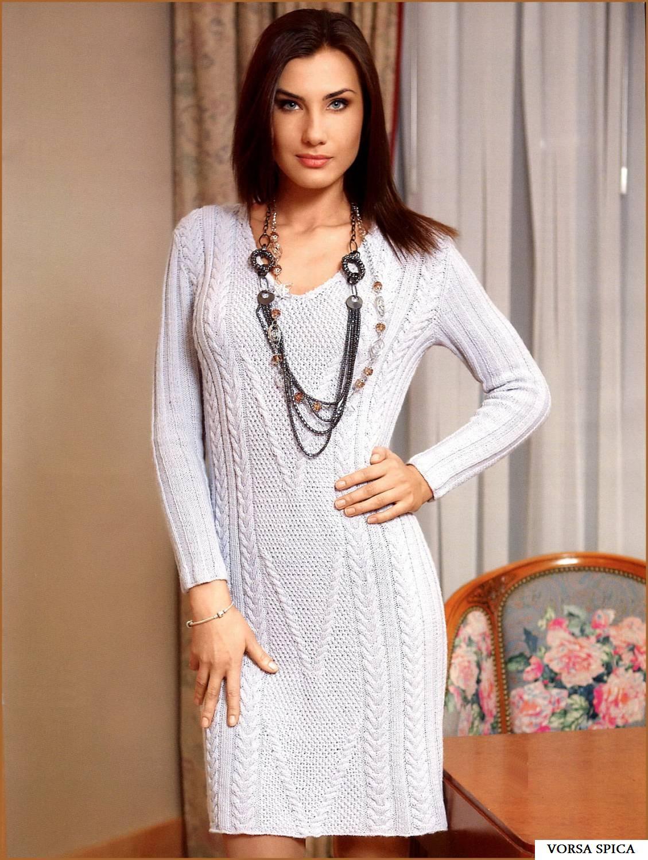 Вязаное классическое платье резинкой схема