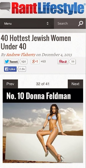 My supermodel sister, Donna Feldman, ranks in at # 10 in Top 40 Hottest Jewish Women Under 40