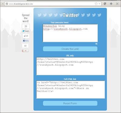 Twitter link share maker razakpark