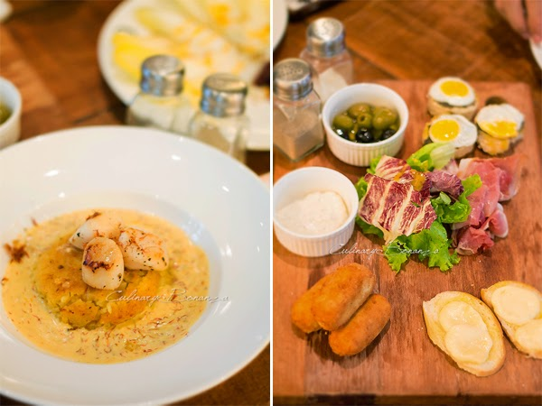 Left: Risotto cake with seared scallops | Right: Classified Sharing Board