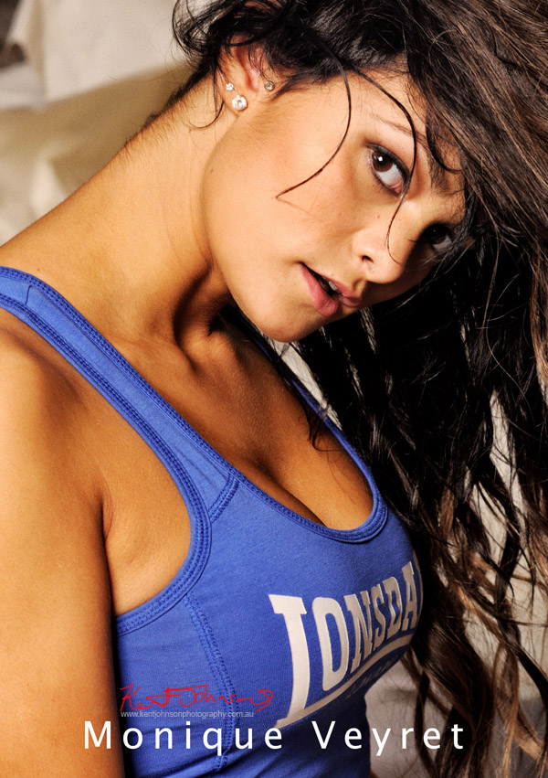 Headshot with blue Lonsdale stretch singlet top.