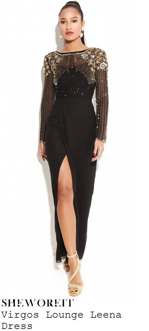 sam-faiers-black-metallic-sequin-bead-embellished-long-sleeve-split-maxi-dress-focus-premiere