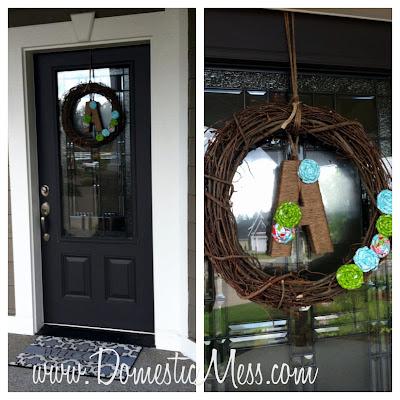 Domestic mess crafty front door wreath for Domestic front doors