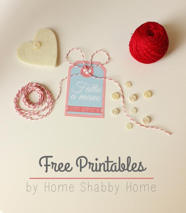 Popolare Free Printables: Etichette Fatto a Mano con Amore - Home Shabby  IF18