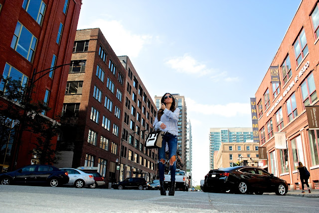 Shirt: Rails Elle striped pullover shirt // Jeans: Blank NYC Denim // Sunglasses: Ray-Ban Aviators //  Bag: Celine // Shoes: Shopbop Ash Cara Booties
