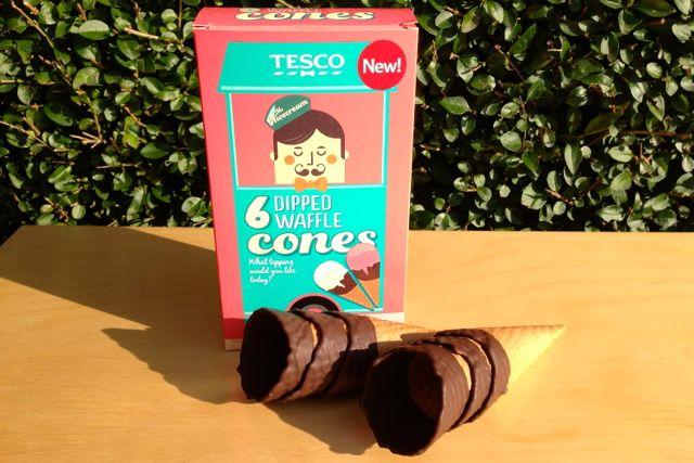Tesco Choc Dipped Waffle Cones - vegan ice cream cones