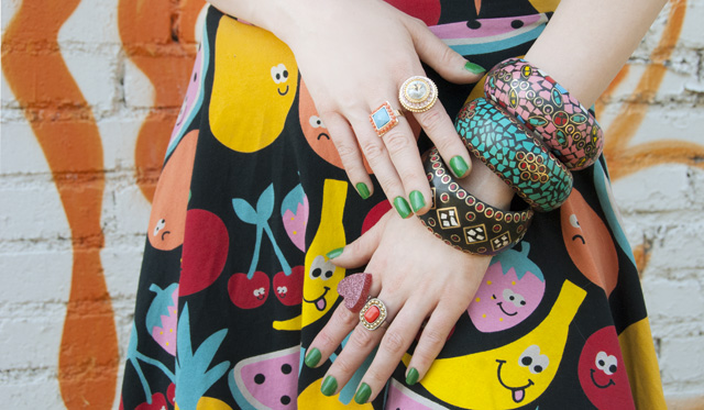 lazy oaf, nasty gal, bangles, fruits