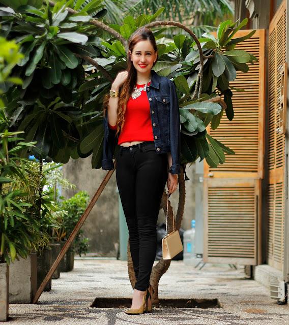 Levis Red Knit Top, Denim Jacket , Levis 710 Black Jeans