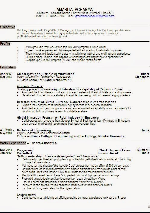 exle of a resume