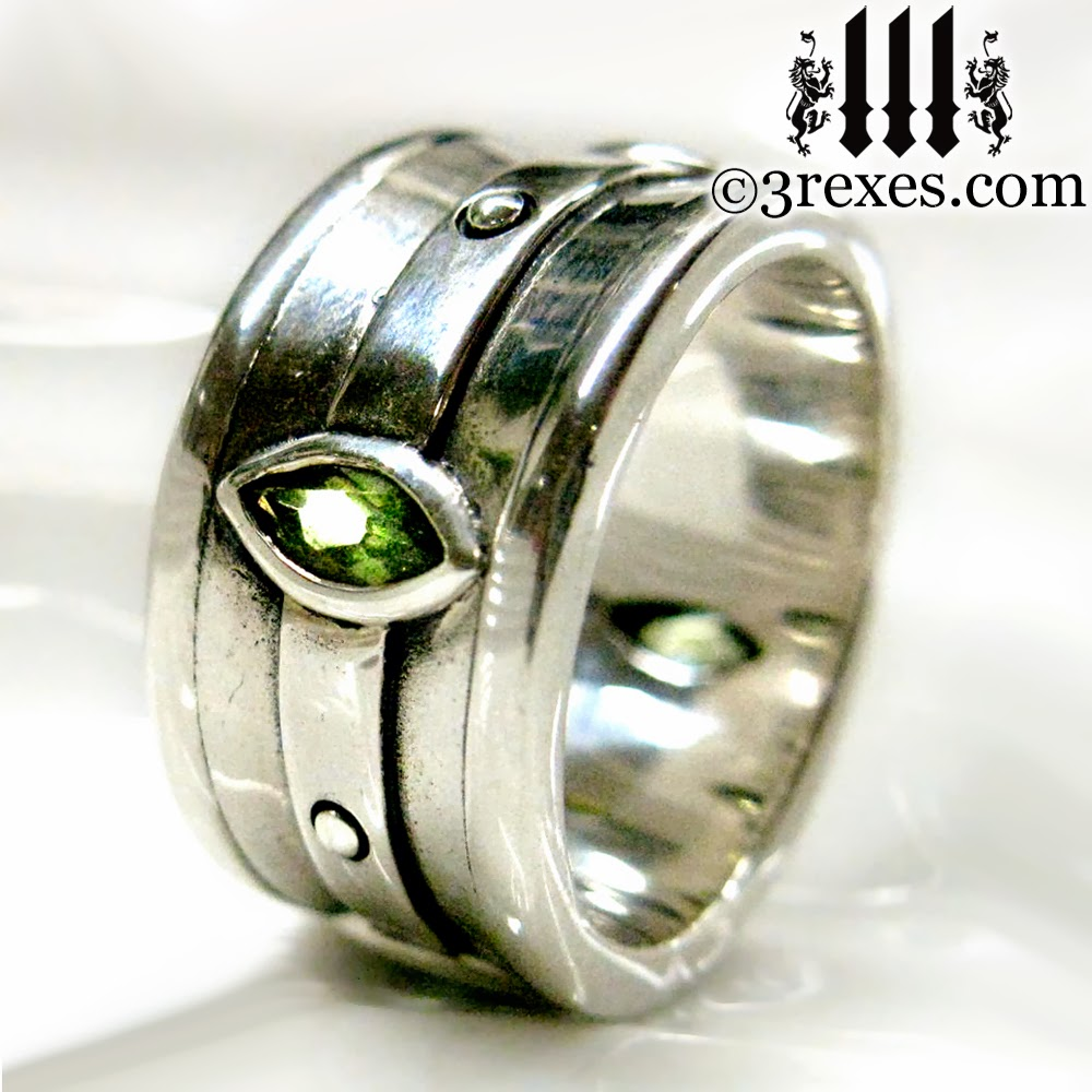 Mens Gothic Engagement Ring With Green Peridot