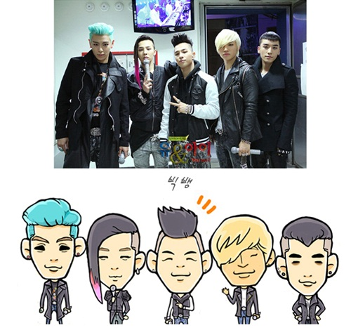 "Big Bang's caricatures-- ""the seaweed hair is alive"" [NEWS]"
