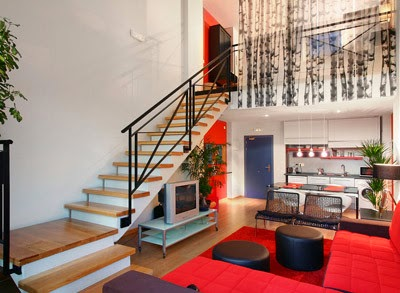 sala roja moderna minimalista