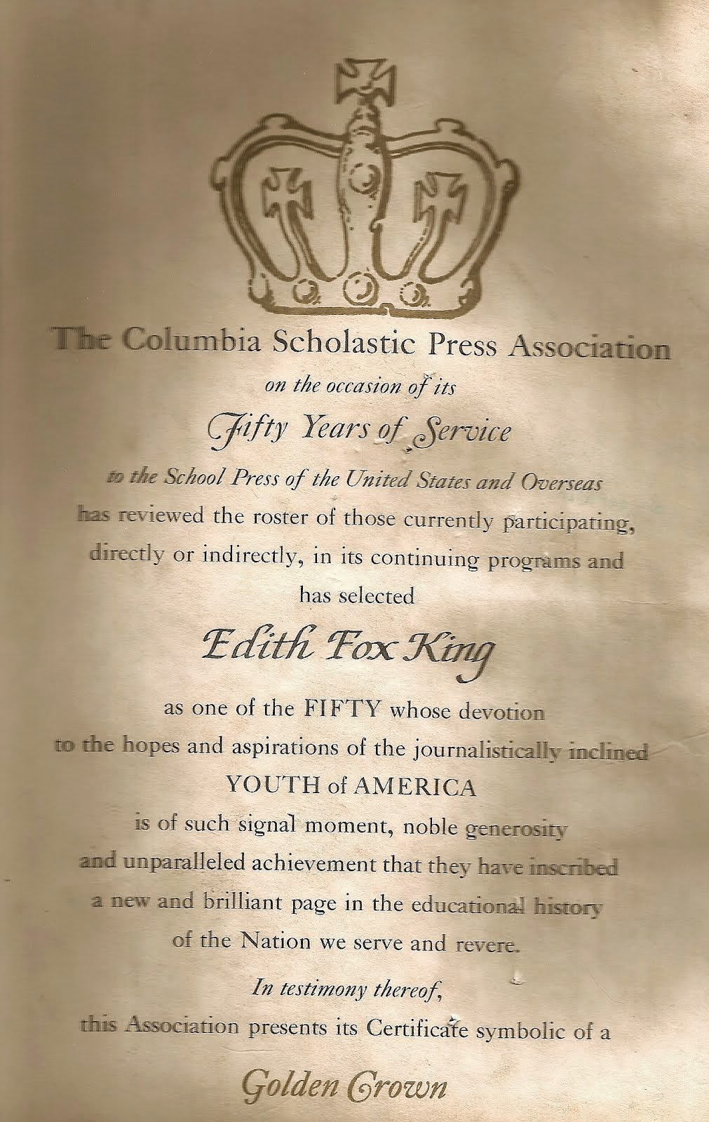 An award from Columbia Scholastic Press Association in 1955