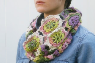 Infinity Blossom Cowl Crochet Pattern by Susan Carlson of Felted Button