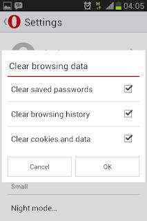 Membersihkan data history pada mobile browser Opera mini 2