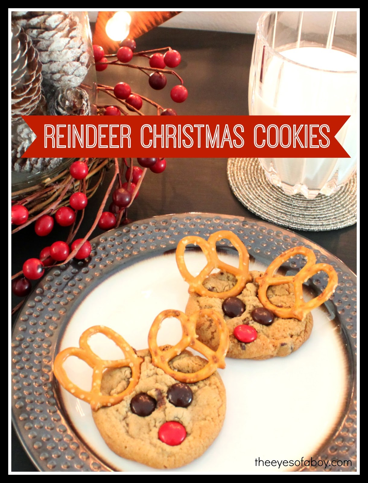 Adorable and easy to make Reindeer Christmas Cookies that both adults and children will love this holiday season