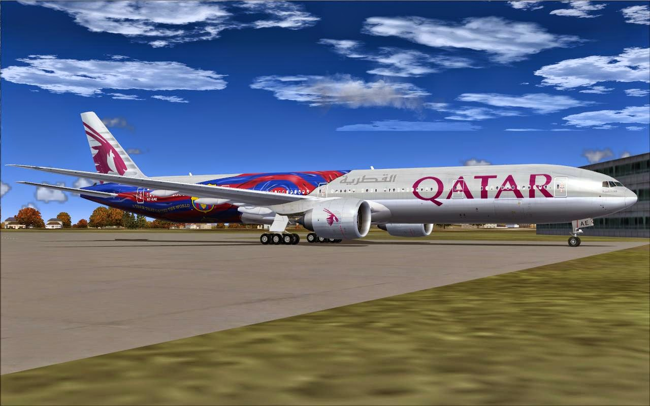 Fs2004 repaints skyspirit2012 777 300er qatar airways a7 for Oficina qatar barcelona