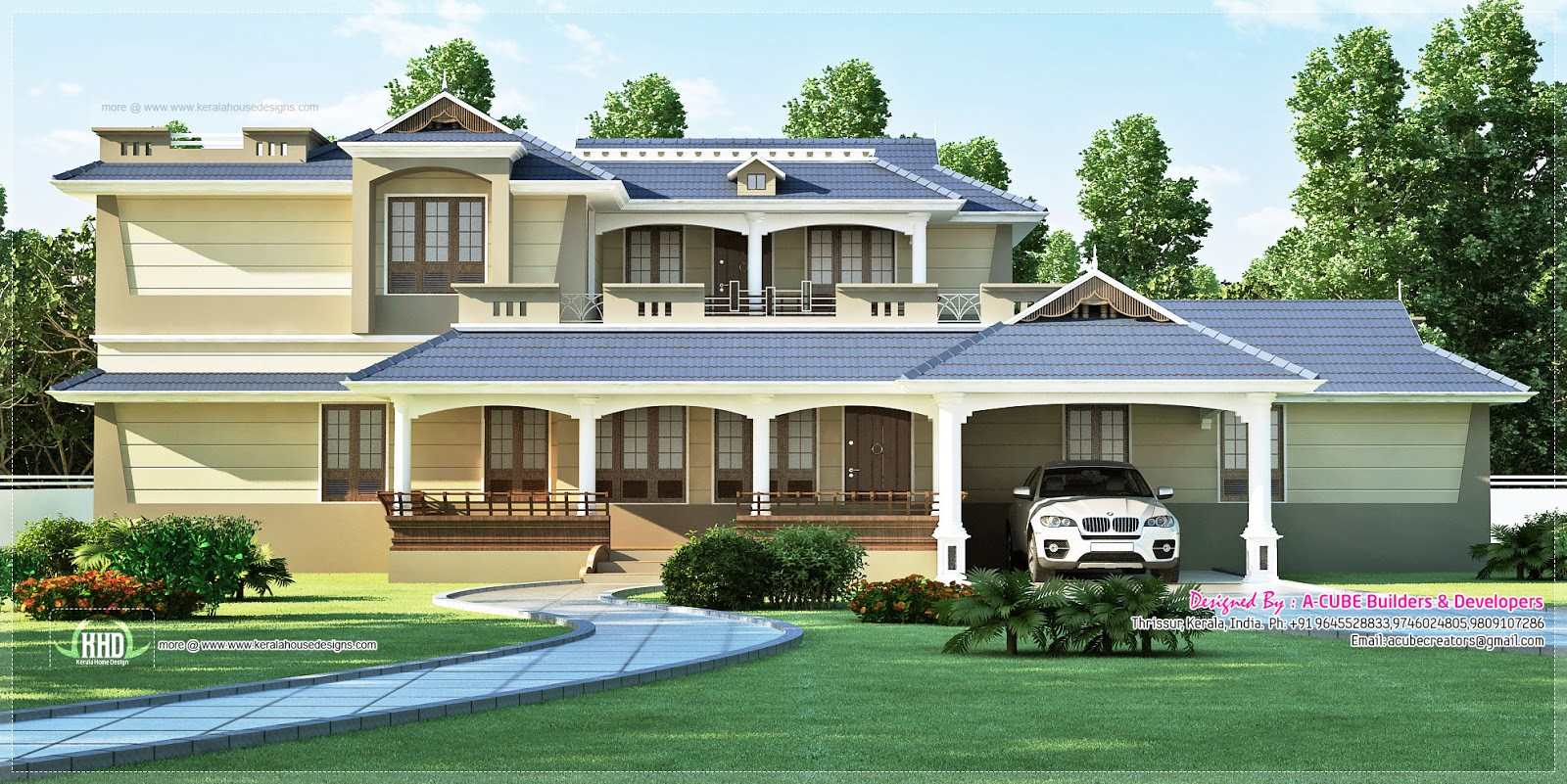 Luxury Sloping Roof 5 Bedroom Villa Exterior