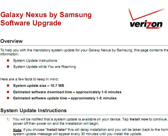 how to download galaxy nexus ota update in verizon us network