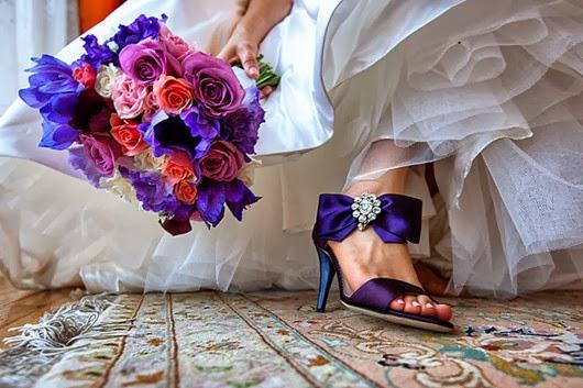 Wedding Shoes ideas purple bouquet